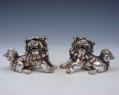 Pair Tibetan Silver Copper Crafted Feng-Shui Monster Foo Dog Lions #12111809