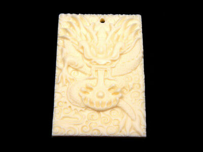 Solid Bone Detailed Hand Carved Pendant Furious Curly Dragon #12111806