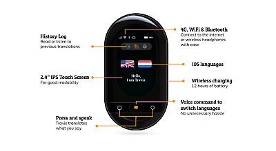 Travis Touch-The Ultimate AI Pocket Translator-105 Languages Real Time Translate