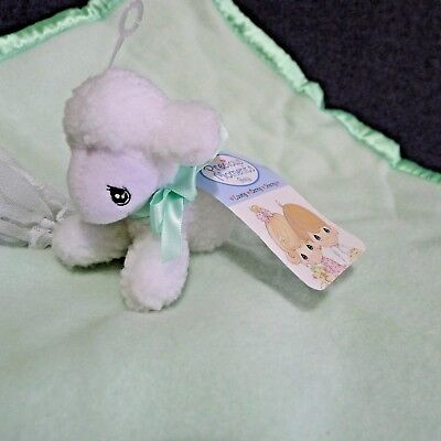Precious Moments Baby Lovey Security Blanket Mint Green White Fuzzy Lamb NWT