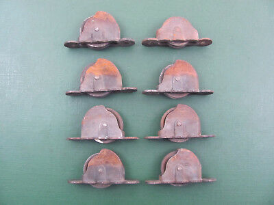 8 Antique Cast Iron Window Counterbalance Pulleys 3 Inch OC Mounts Pat Sep 1887