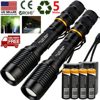 Tactical Police 90000Lumens T6 LED 5 Modes 18650 Flashlight Aluminum Zoom Torch