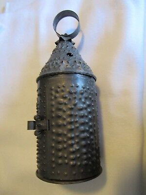 Old Vtg Antique Primitive Punched Tin Lantern Candle Chimney Light Holder Metal