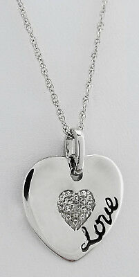 GENUINE DIAMOND Heart Love PENDANT NECKLACE .925 STERLING SILVER * New With Tag