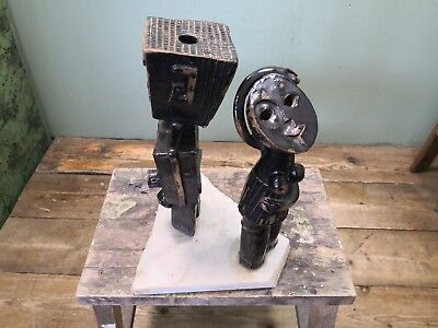Vintage African Pottery Ethnographic Male & Female Statue Dolomite Plinth #15A
