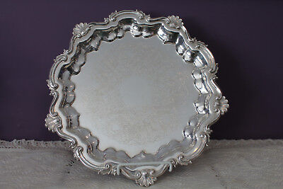 "Beautiful Sheffield Reproduction Silver Plated 12-1/2"" Ornate Serving Tray"