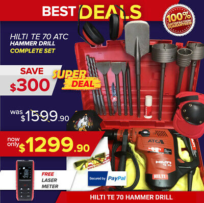Hilti Te 70 Hammer Drill, Preowned, Free Laser Meter, Core Bits, Fast Ship