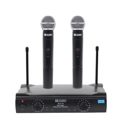 W Audio RM 10 Wireless Twin Handheld Karaoke VHF Radio Microphone System