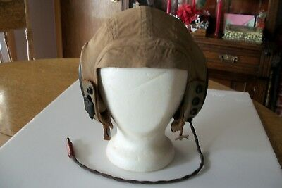 WW2 U.S. Army Air Forces AN-H-15 Khaki Cloth Flight Helmet Large with Receivers
