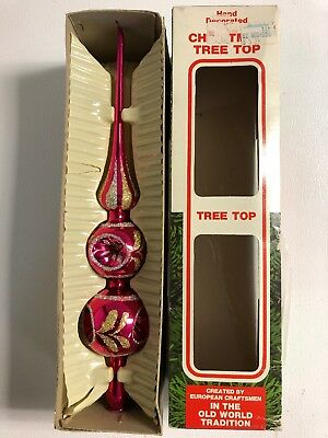 Vintage Commodore Glass Christmas Tree Top Pink with glitter In Original Box