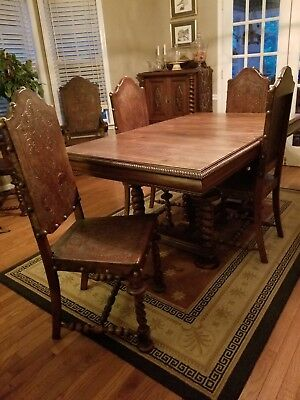 Antique Colonial Dining Room 9pc Set - Rare Brazilian Jacaranda/Rosewood