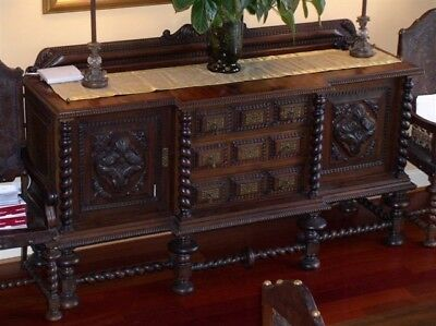 Antique Colonial Dining Room Buffet - Rare Brazilian Jacaranda/Rosewood