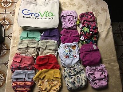 16 Grovia AIO Cloth Diapers one size fits most, Wacky, One, HapPee Bum.