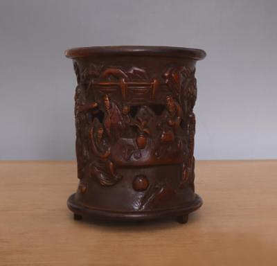 Wu Zhifan Signed Antique Chinese Carved Figures Bamboo Brush Pot