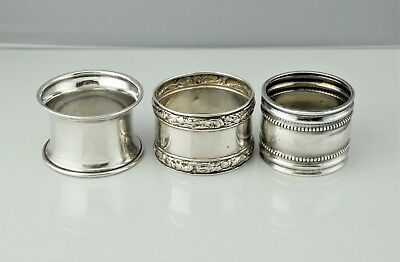Set of 3 Antique Vintage Sterling Silver Repousse Beaded Rim Napkin Rings