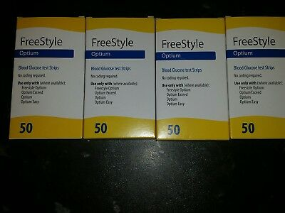 Freestyle optium test strips 4 x 50 .200 strips in total good date.