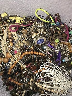 19 Lbs 7 Oz Unsorted Junk Tangled Vtg- Mod Costume Jewelry, JG7