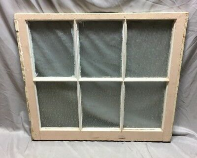 Antique 6 Lite Florentine Privacy Glass Window Sash 28X32 Old Vintage 595-18C