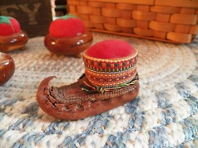 Vintage Pin Cushion Leather Shoe Hand Crafted Yugoslavia
