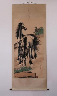 Xu Beihong Signed Old Chinese Hand Painted Calligraphy Scroll w/Two Horse