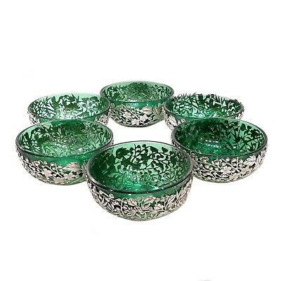 ANTIQUE CHINESE EXPORT SILVER PIERCED BOWLS, GREEN GLASS LINERS, T & Co, c. 1900