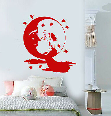 Vinyl Wall Decal Fairy tale Moon Face Stars Retro Lady Stickers (3272ig)