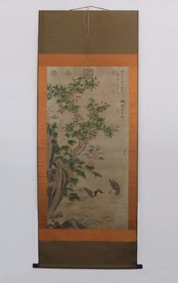 Li Di Signed Old Chinese Hand Painted Calligraphy Scroll w/bird