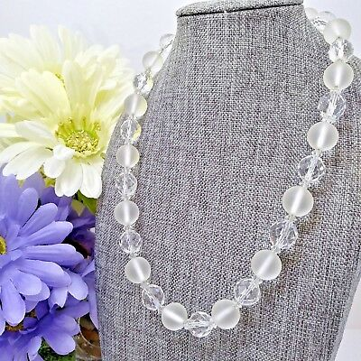 """Vintage Multi Faceted Crystal & Round Frosted Glass Beaded Necklace 18.5"""" C2-11"""
