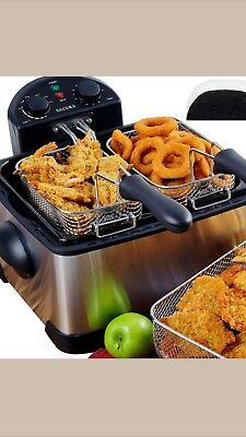 Secura 1700-Watt Stainless-Steel Triple Basket Electric Deep Fryer with Timer