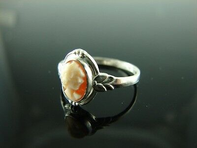 Sterling Silver Antique Style Filigree Ring With Cameo 7x5mm Ring Size 5.75