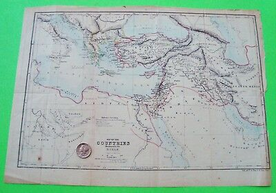 "ORIG'L ca 1850 MAP OF COUNTRIES IN THE BIBLE Duval & Son Philadelphia 12.5"" X 9"""