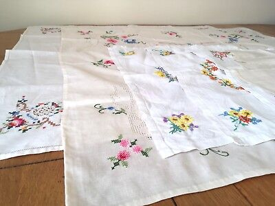 Lot Of Vintage Cotton Hand-Embroidered Cross Stitch Floral Table Tray Cloth Mats