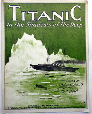 1912 Super Rare TITANIC IN THE SHADOWS OF THE DEEP sheet music publ. CORRY, PA