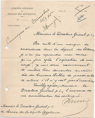 EGYPT ÄGYPTEN 1905 LETTER SIGNED BY Germany Egyptologist Émile Brugsch LOT 4