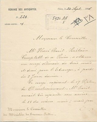EGYPT ÄGYPTEN 1905 LETTER SIGNED BY Germany Egyptologist Émile Brugsch LOT 3