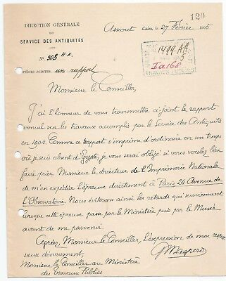 Egypt Ägypten 1905 Rare Letter Signed By France Gaston Maspero