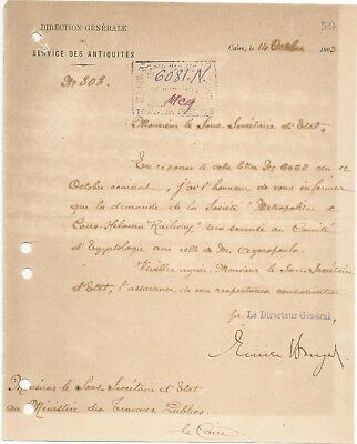 EGYPT ÄGYPTEN 1903 LETTER SIGNED BY Germany Egyptologist Émile Brugsch LOT 2