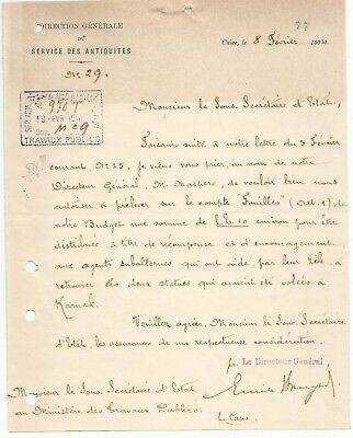 EGYPT ÄGYPTEN 1904 LETTER SIGNED BY Germany Egyptologist Émile Brugsch LOT 5
