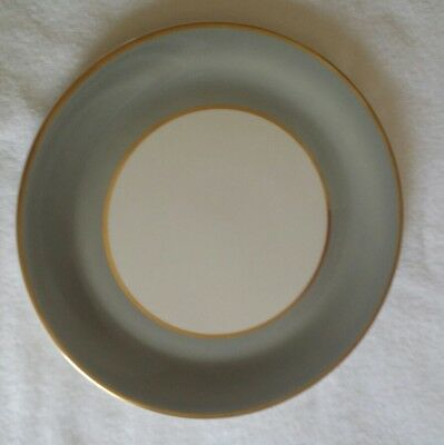 Vintage Syracuse Syralite China Set of Ten Dinner Plates Gray Gold Trim, USA