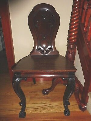 GEORGIAN ANTIQUE EARLY 18th CENTURY HALL CHAIRS SELLING PAIR (Pre-1800)