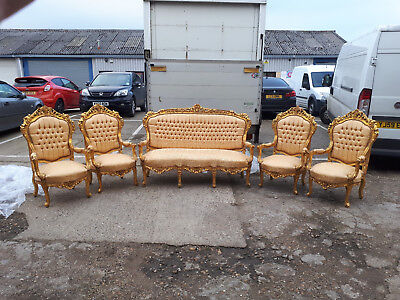 Antique French Set Of 1 Gilded Sofa And 4 Armchairs