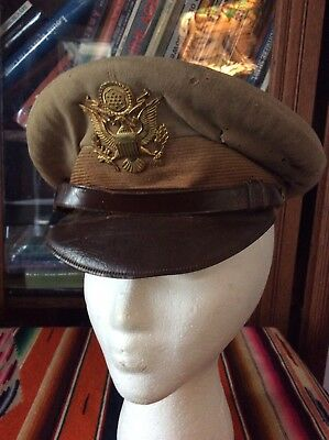 Vintage WW2 WWII US Army Air Forces Corps Visor Hat Cap Brass Eagle Badge  7 1/8