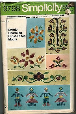 9798 Vintage Simplicity Embroidery Cross Stitch Transfer Pattern Floral