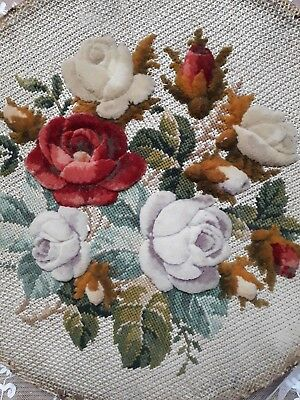 Antique Victorian Tapestry Plushwork Rose Floral Hand Embroidery Sampler Fabric