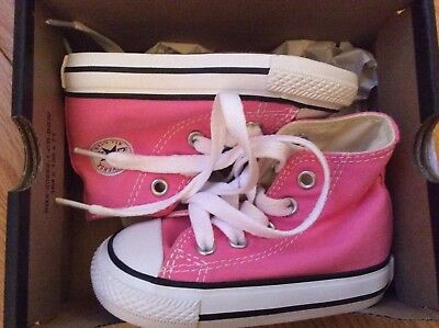 Infant Girl Toddler Kids Pink Hi Top All Star Converse Trainers Shoes Eur20 UK 4