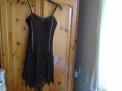 1 Gorgeous dark brown lined lace mini dress with padded bodice, NEW ONE, sz 8
