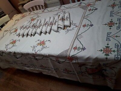 Vintage Tablecloth  Napkins Set Hand Embroidery Large Christmas Banquet Cross St