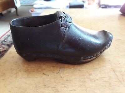 Childs Antique Leather & Wooden Clog.measures 15Cm Exquisitely Hand Made,lovely!
