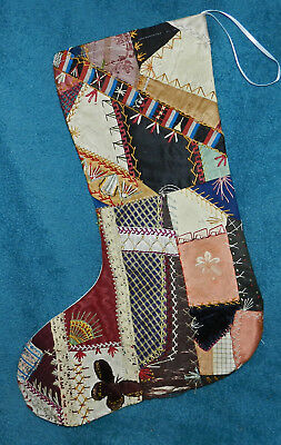 Awesome Antique Vintage Crazy Quilt Christmas Stocking! Cutter Quilt Cq27