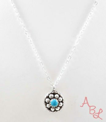 Sterling Silver 925 Linked Chain Blue Turquoise Necklace 16'' (4.2g) - 745198